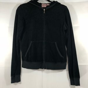 Juicy Couture Black Velour Zip Up Hoodie